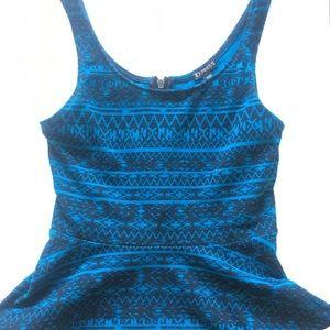 Blue tribal print peplum tank